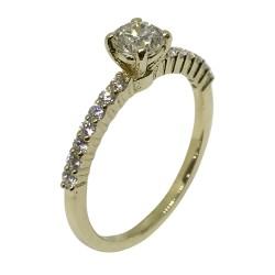 טבעת זהב משובצת 15 יהלומים במשקל 0.6 קרט דגם : 2131