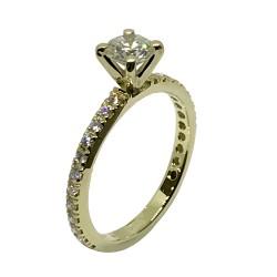 טבעת זהב משובצת 25 יהלומים במשקל 0.94 קרט דגם : 2379
