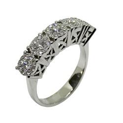 טבעת זהב משובצת 45 יהלומים במשקל 0.48 קרט דגם : 2394