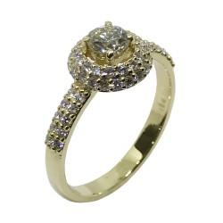 טבעת זהב משובצת 57 יהלומים במשקל 0.79 קרט דגם : 2433