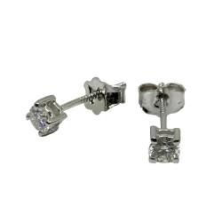 עגילים מזהב משובצים 2 יהלומים במשקל 0.36 קרט דגם : 2697