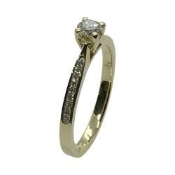 טבעת זהב משובצת 19 יהלומים במשקל 0.3 קרט דגם : 4048