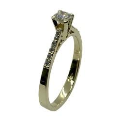 טבעת זהב משובצת 13 יהלומים במשקל 0.42 קרט דגם : 4051