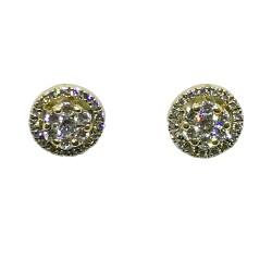 עגילים מזהב משובצים 48 יהלומים במשקל 0.72 קרט דגם : 1329