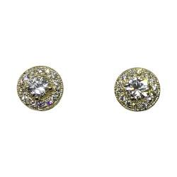עגילים מזהב משובצים 30 יהלומים במשקל 0.68 קרט דגם : 1369