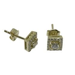 עגילים מזהב משובצים 34 יהלומים במשקל 0.52 קרט דגם : 1371