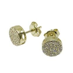 עגילים מזהב משובצים 38 יהלומים במשקל 0.42 קרט דגם : 1503