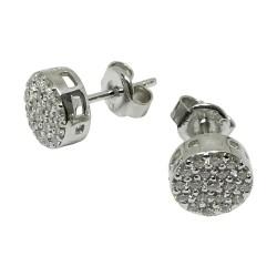 עגילים מזהב משובצים 38 יהלומים במשקל 0.42 קרט דגם : 1533