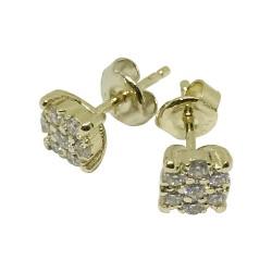 עגילים מזהב משובצים 14 יהלומים במשקל 0.38 קרט דגם : 1519