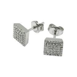 עגילים מזהב משובצים 80 יהלומים במשקל 0.33 קרט דגם : 1524