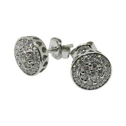 עגילים מזהב משובצים 44 יהלומים במשקל 0.4 קרט דגם : 1528