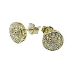 עגילים מזהב משובצים 44 יהלומים במשקל 0.4 קרט דגם : 1529