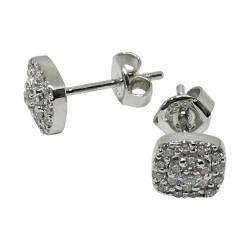 עגילים מזהב משובצים 38 יהלומים במשקל 0.35 קרט דגם : 1530