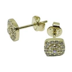 עגילים מזהב משובצים 38 יהלומים במשקל 0.35 קרט דגם : 1531