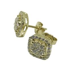 עגילים מזהב משובצים 58 יהלומים במשקל 0.85 קרט דגם : 1142