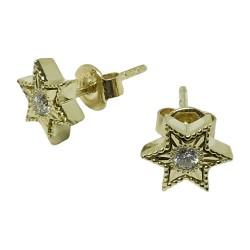 עגילים מזהב משובצים 2 יהלומים במשקל 0.14 קרט דגם : 1064
