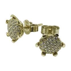 עגילים מזהב משובצים 62 יהלומים במשקל 0.55 קרט דגם : 1066