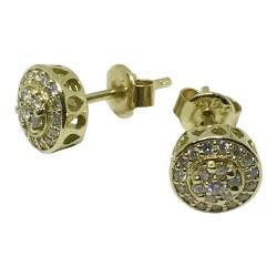 עגילים מזהב משובצים 44 יהלומים במשקל 0.44 קרט דגם : 1079