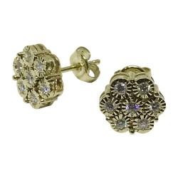 עגילים מזהב משובצים 14 יהלומים במשקל 0.37 קרט דגם : 1152