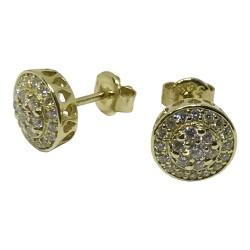 עגילים מזהב משובצים 46 יהלומים במשקל 0.58 קרט דגם : 1072