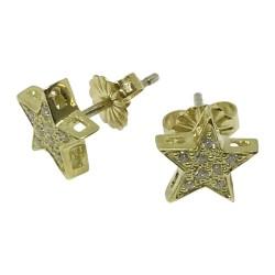 עגילים מזהב משובצים 16 יהלומים במשקל 0.12 קרט דגם : 1075