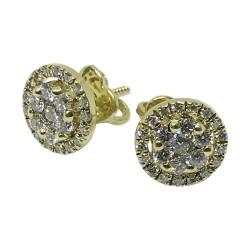 עגילים מזהב משובצים 48 יהלומים במשקל 0.72 קרט דגם : 1328