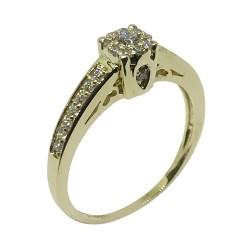 טבעת זהב משובצת 26 יהלומים במשקל 0.31 קרט דגם : 1511